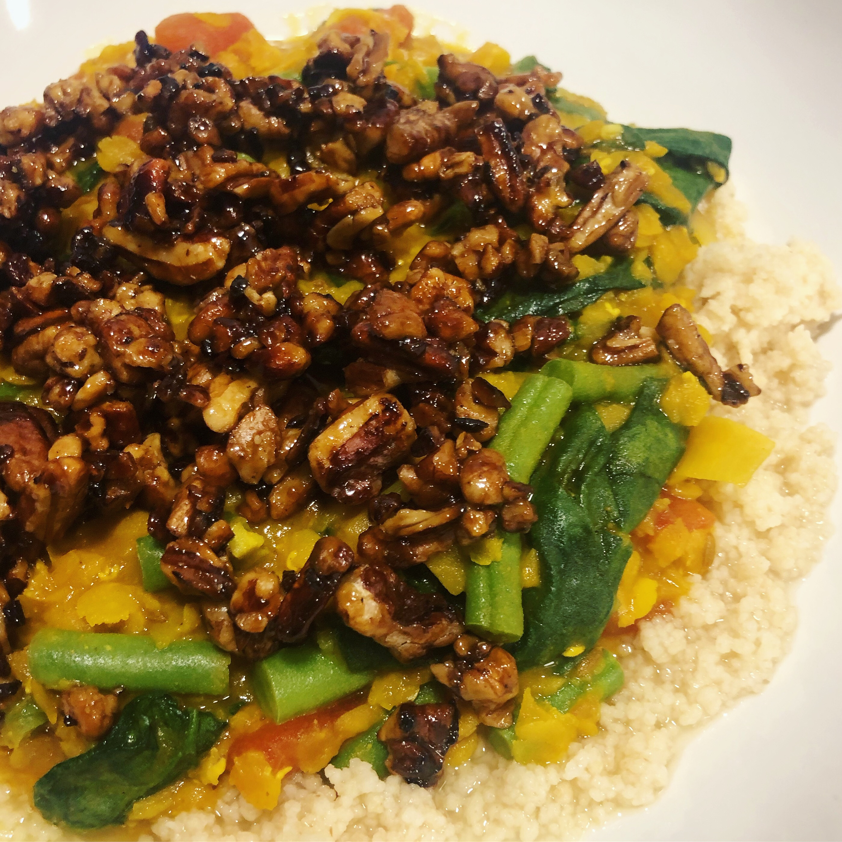 Spiced Red Lentils with Couscous & Pecans