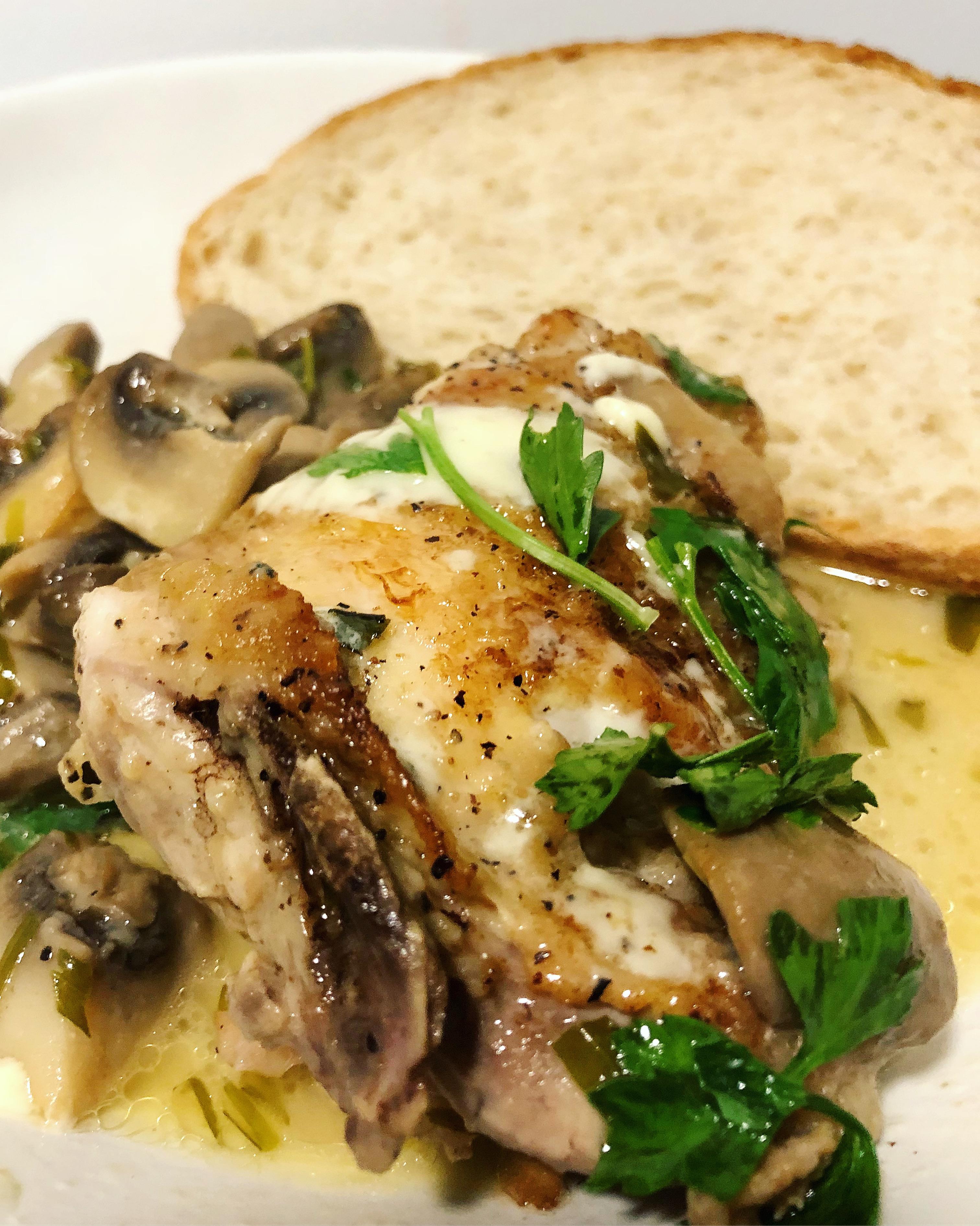 Baked Chicken with Mushrooms & Gorgonzola
