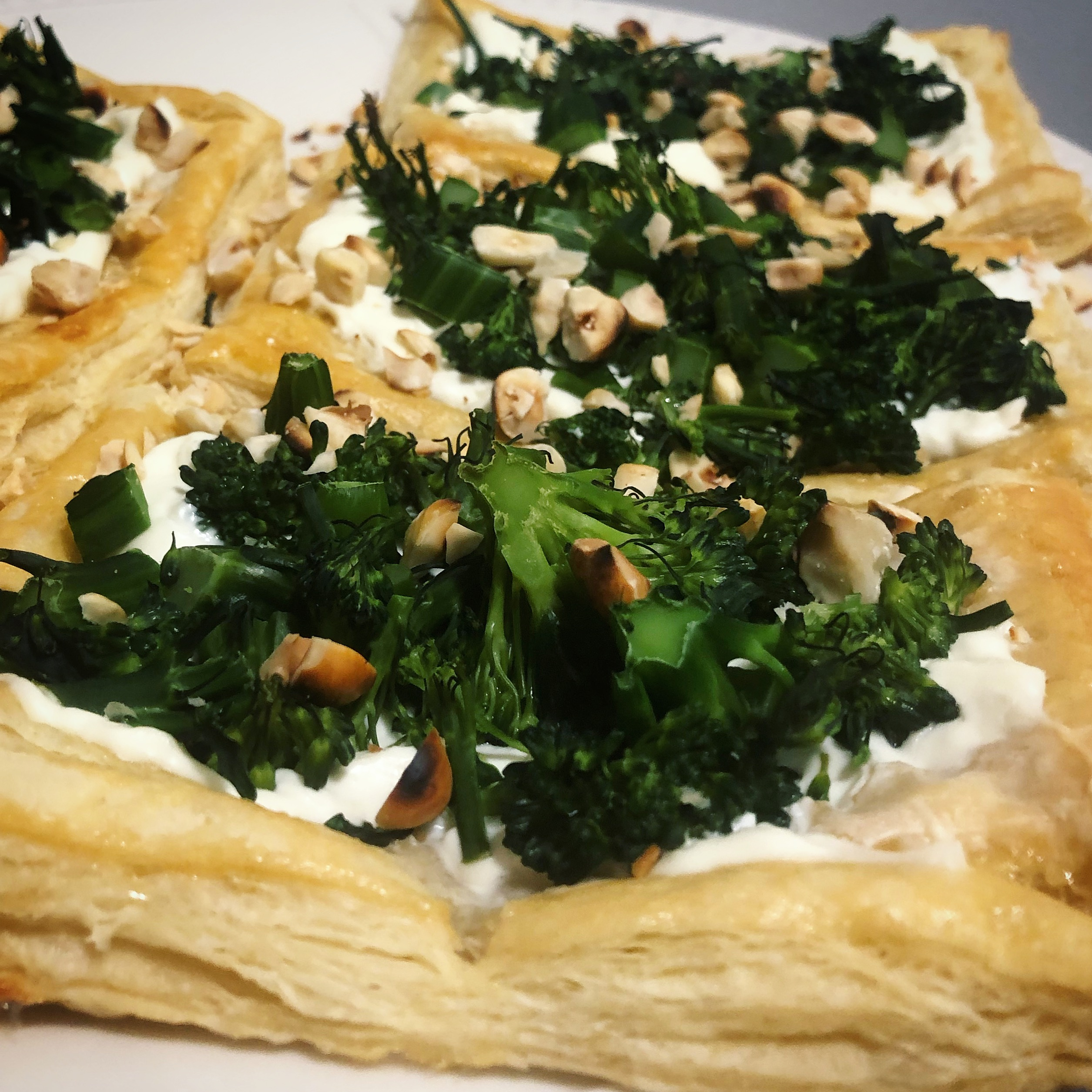 Purple Sprouting Broccoli, Goat's Cheese, and Hazelnut Tarts