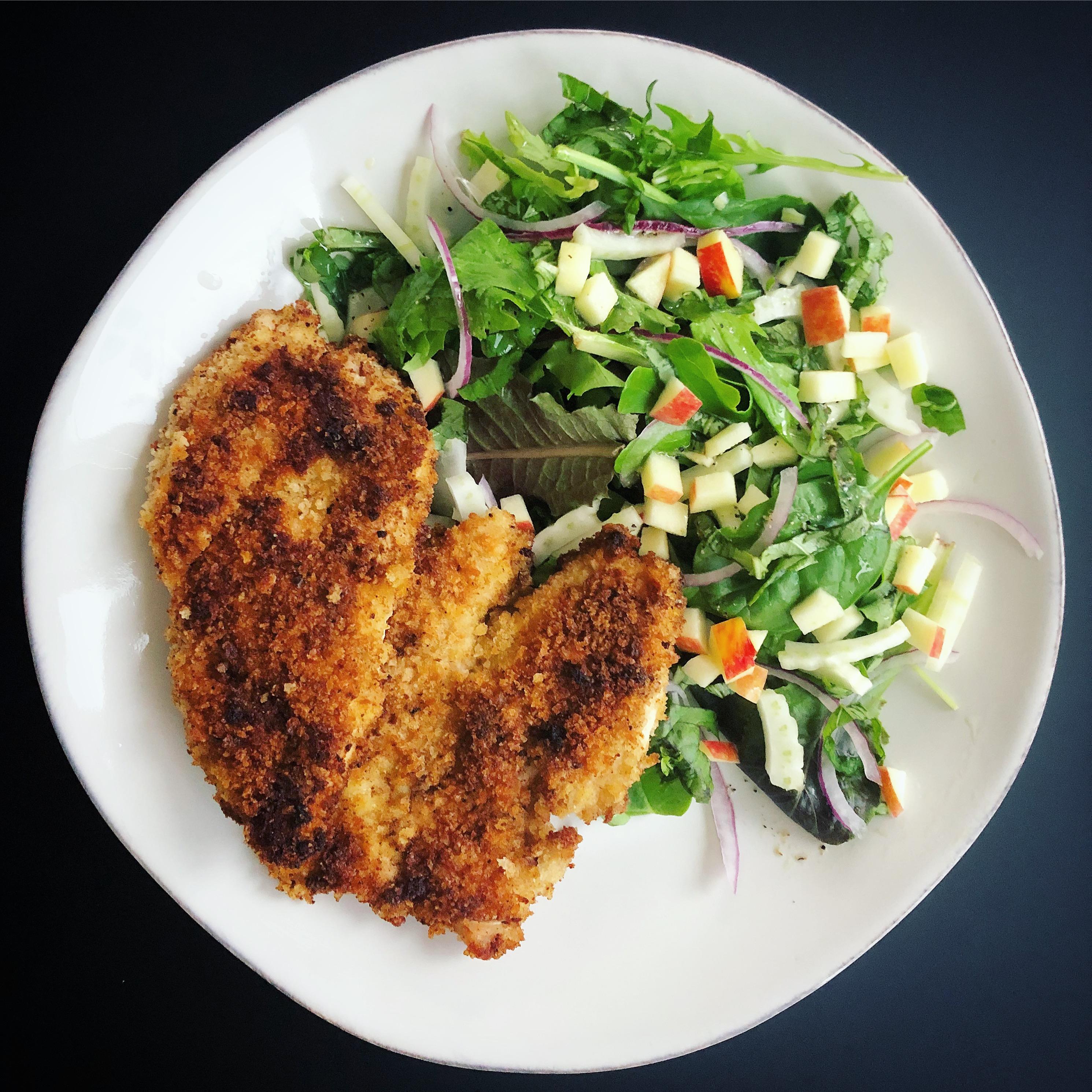 Crispy Almond Chicken with Apple-Fennel Salad