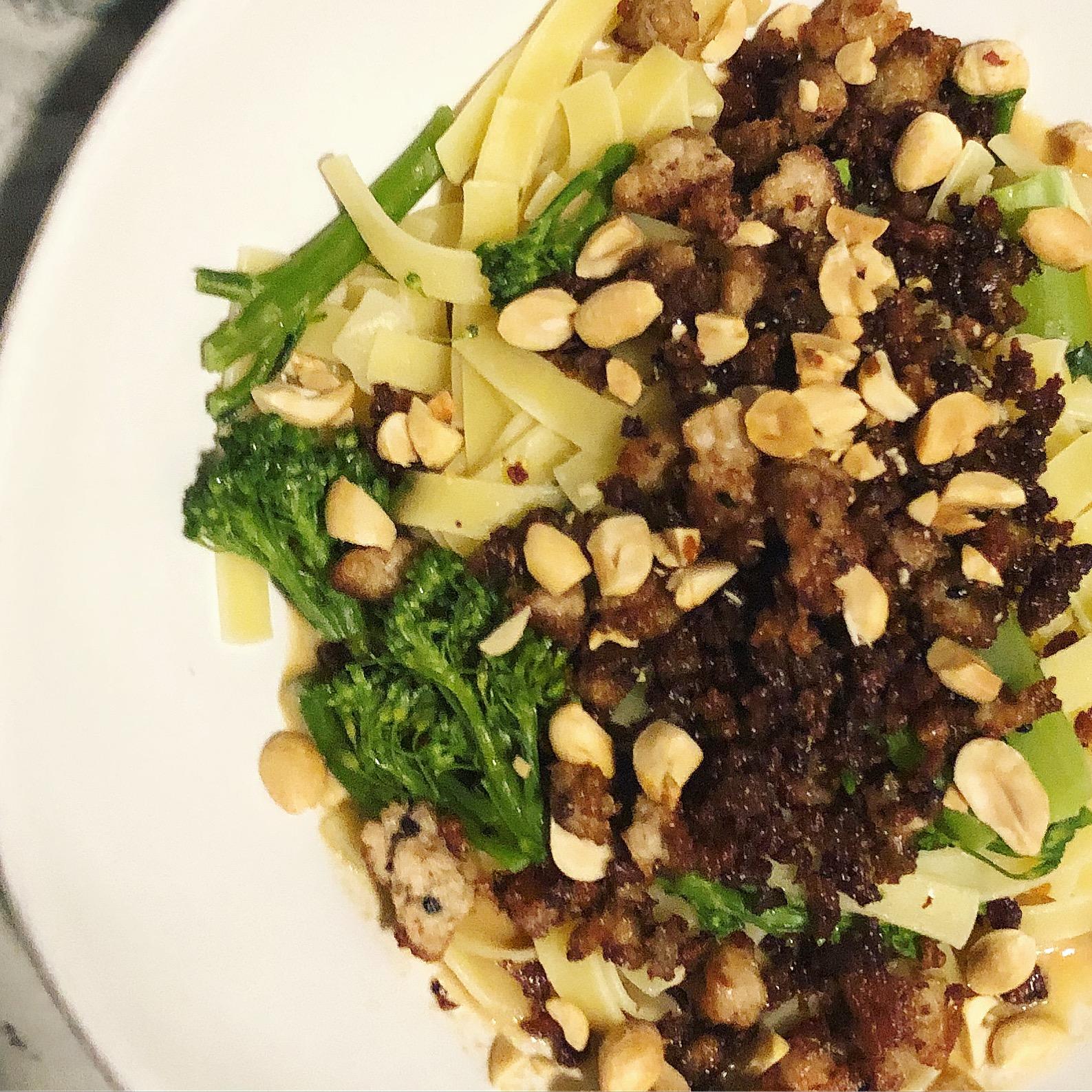 Sichuan-style Pork & Peanut Noodles