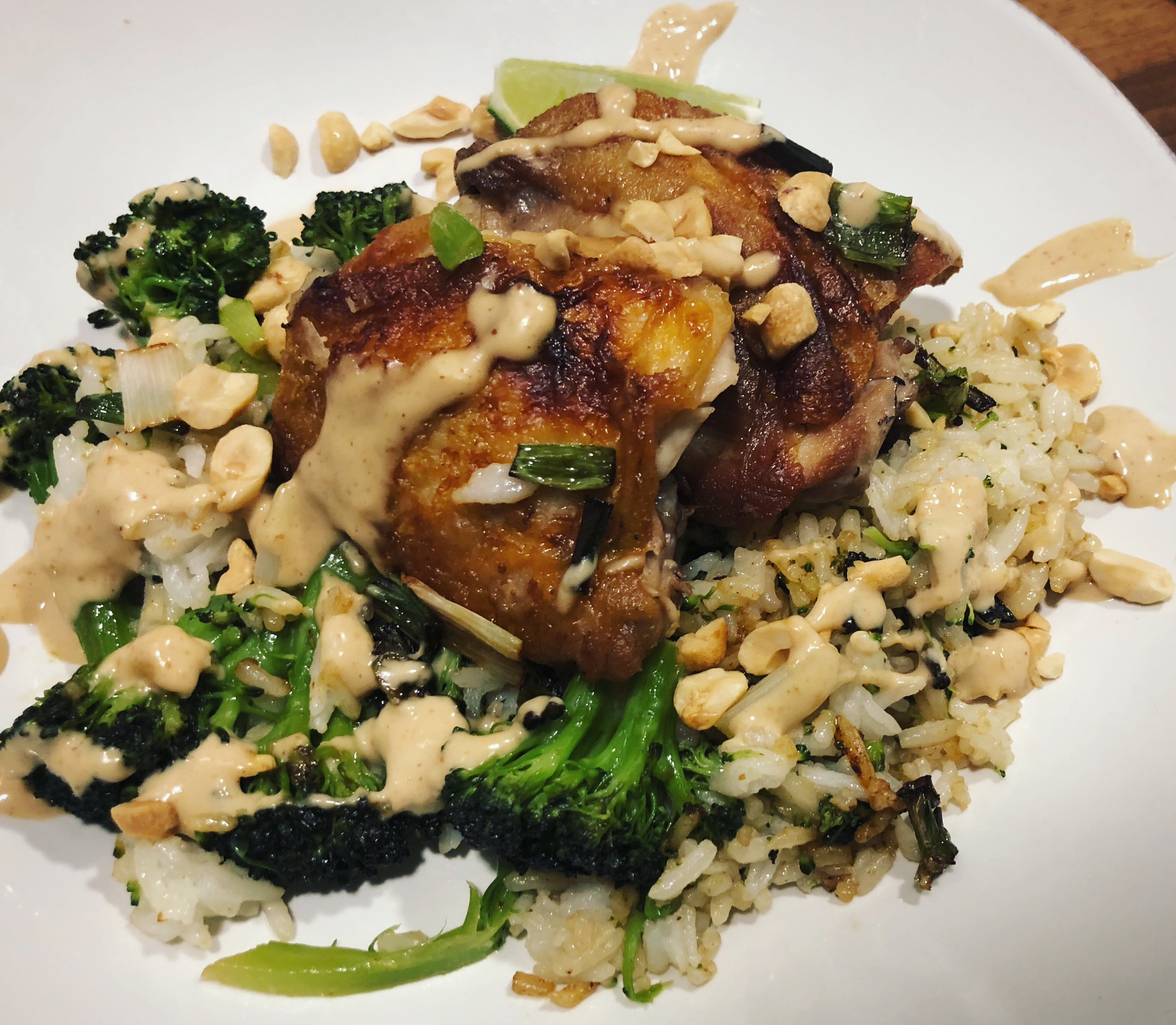 Peanut Chicken with Charred Scallions and Rice