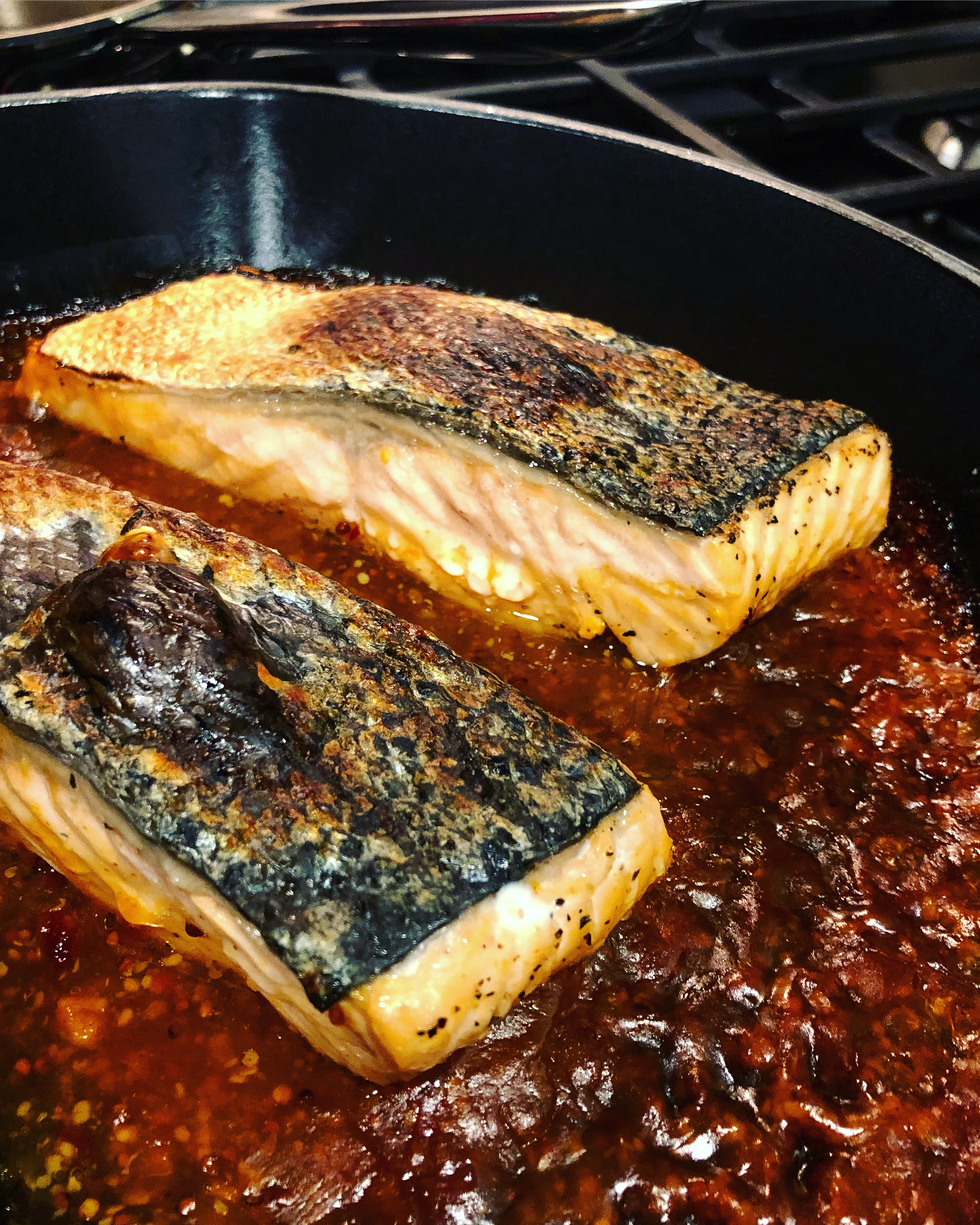 Sweet Chili and Mustard-Glazed Salmon Fillets