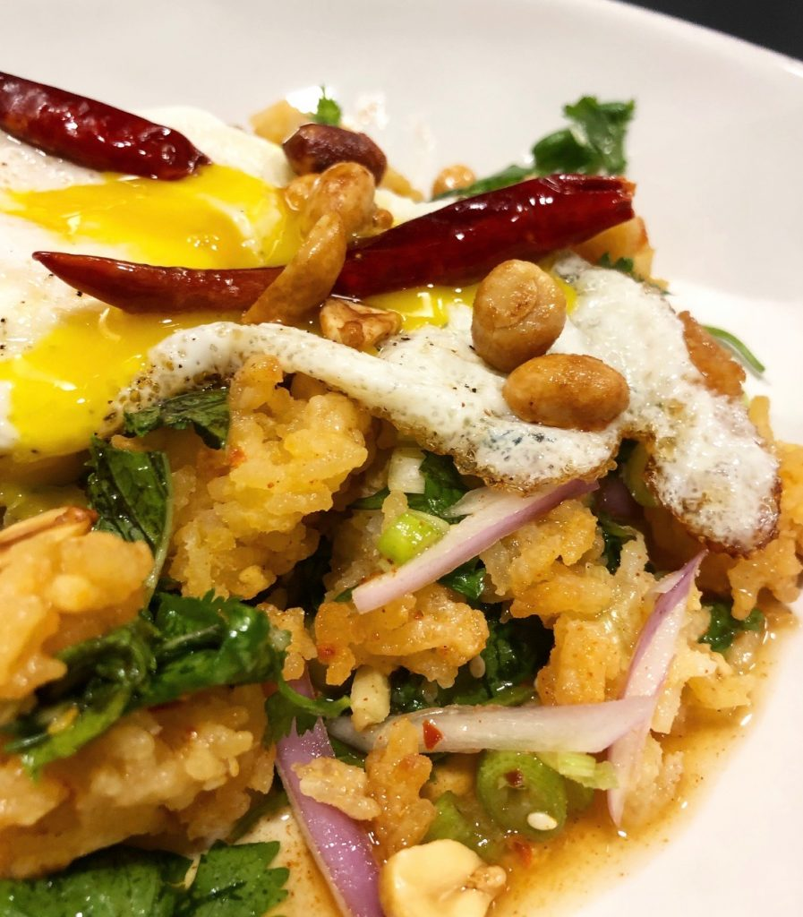 Khao Tod (Crispy Rice Salad) with Fried Eggs